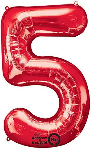 amscan NEU Folienballon Große Zahl 5 rot, 53x86 cm