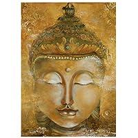 黄金の仏の頭壁アートポスターHdプリントキャンバス絵画家の装飾リビングルームアートワークギフト寝室の装飾-50x75CMフレームなし