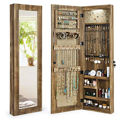 SRIWATANA Jewelry Armoire Cabinet, Solid Wood Jewelry Organizer with Full Length Mirror Wall/Door Mounted, Carbonized Black