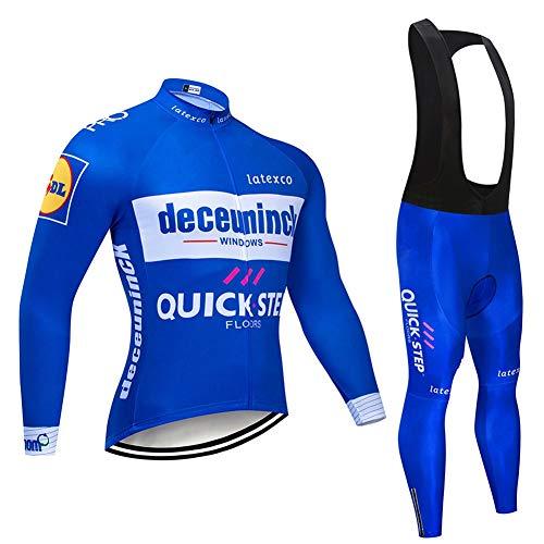 AJL Vélo de Course Route Bleu Maillot Manches Longues - vélo Deceuninck Quickstep équipe Costume de vêtements de Sport en Plein air, évacuant l'humidité Sport (Size : Small)