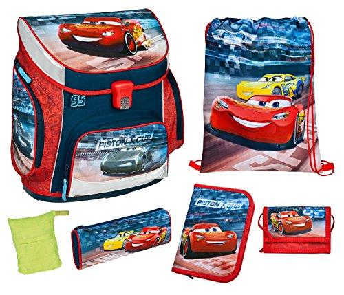 Scooli CAAD8252AZ - Schulranzen mit Schüleretui, Schuhbeutel, Schlamperetui, Brustbeutel und Regenschutzhülle, leicht, ergonomisch, Disney Pixar Cars, 6 teilig