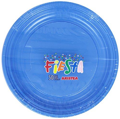 Fiesta - Juego de 50 Platos de plástico de Color Azul