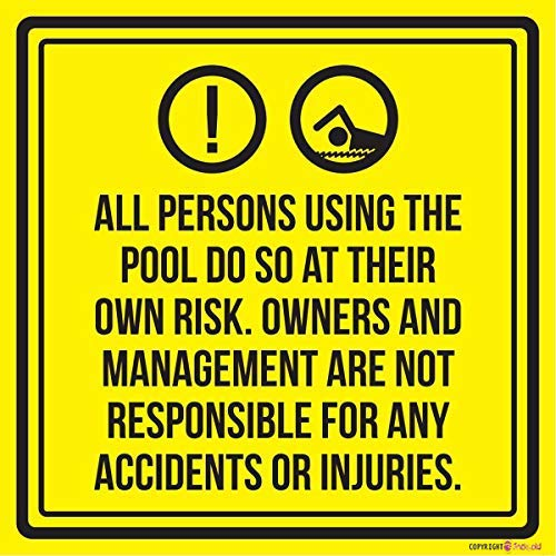 """Wandschild \""""Liability All Persons Using The Swimming Pool Do So At Their Own Risk\"""". Spa-Warnschild aus Metall, 30,5 x 30,5 cm"""