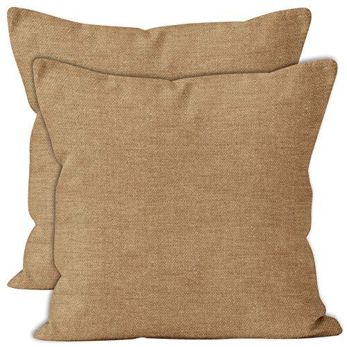 Encasa Homes Almohadas de Chenilla de Juego de 2 Piezas - Arena - 40 x 40 cm Color sólido Texturizado, Suave y Liso, Acento Cuadrado Cojín para el sofá, el sofá, la Silla