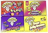 Warheads Candy Variety Pack of 4 (Cubes, Sour Twists, Worms, & Jelly Beans)(1 of each, total of 4)
