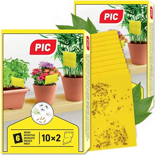 PIC - Atrapa Mosca - 40 Trampas Amarillas - Gran Superficie Adhesiva, plagas, en casa y en el balcón - contra los Mosquitos de los Hongos, los pulgones, Las Moscas mineras y Las Moscas Blancas