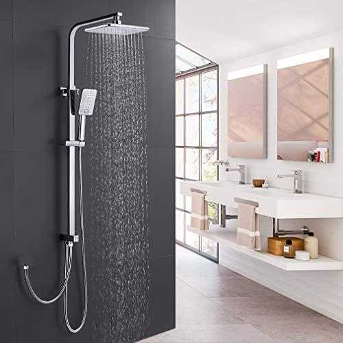 Duschset Duschsystem ohne Armatur, WOOHSE Duscharmatur Regendusche mit Eckige Kopfbrause und 3 Strahlart Handbrause Brausegarnitur Duschsäule mit Höhenverstellbare Duschstange für Dusche Badzimmer