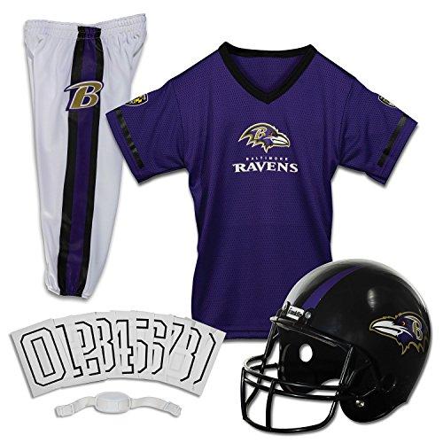 Franklin Sports Baltimore Ravens Kids Football Uniform Set - NFL Youth Football Costume for Boys & Girls - Set Includes Helmet, Jersey & Pants - Medium