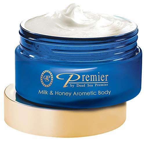 Premier Dead Sea Aromatic Body Butter- Milk and Honey, anti aging skin care, moisturizer, hydrating shea butter, stretch mark cream, firming, age spots, neck & Décolleté, lightweight & silky, 5.95Fl.oz