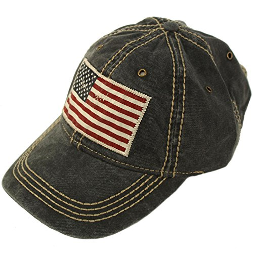 Epoch Unisex Washed Cotton Vintage USA Flag Low Profile Summer Baseball Cap Hat Black