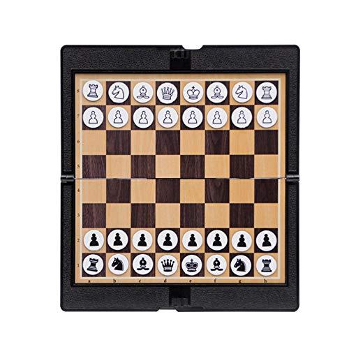 MOVKZACV Mini juego de ajedrez magnético plegable para estudiantes de bolsillo divertido y mini portátil de ajedrez