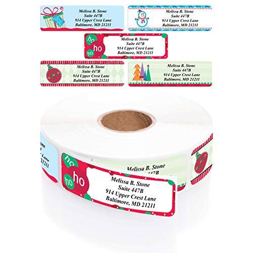 Trendy Christmas Designer Assorted Rolled Address Labels with Elegant Plastic Dispenser (250)