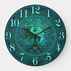 wojuedehuidamai6 Silent Wall Clock - Great Blue Glow Yin Yang with Tree of Life - Decorative Wall Clock for Home、Office and Cafe with 9in