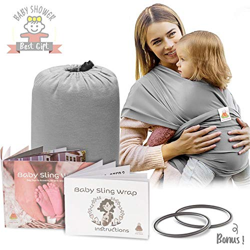 Lazy Monk Baby Wrap Carrier Sling | Soft Infant Newborn Wraps Holder Set | Breathable Organic Preemie Cotton with 2 Aluminum Rings & Instructions | Ideal Baby Gifts for Nursing Moms