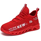 Zapatillas de Deporte Portátil para Niños Zapatos Deportivos de Moda para Chico Zapatilla de Senderismo Transpirable Calzado Deportivo para Niños Rojo,27 EU