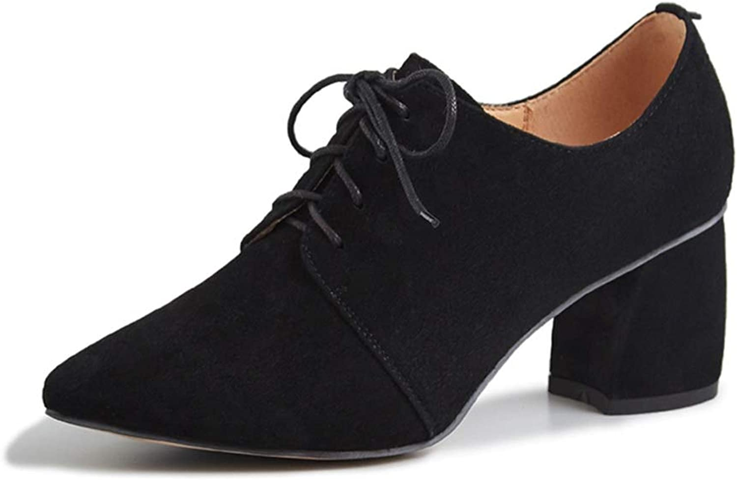 Deep Mouth Single shoes Female Thick with Leather Pointed Nude color High Heels Ladies Small shoes British Casual Women's shoes 2019 Spring Black, Size   35