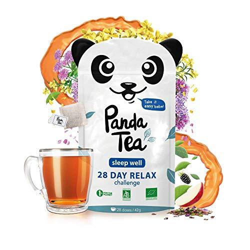 Panda TeaSleep Well–Infusión ecológica, 28bolsitas sobrehiladas de algodón cosidas a mano