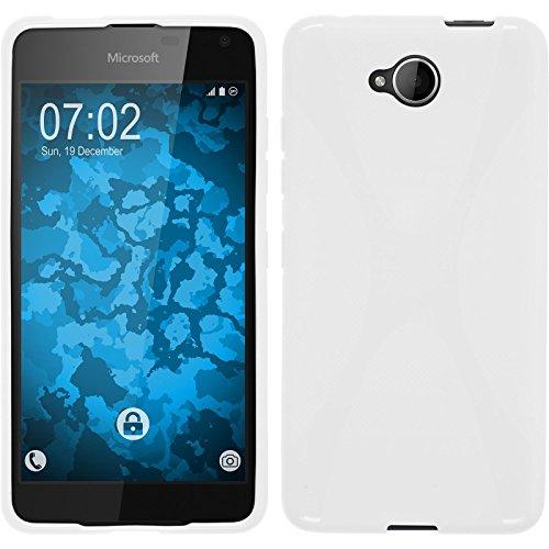 PhoneNatic Case kompatibel mit Microsoft Lumia 650 - weiß Silikon Hülle X-Style + 2 Schutzfolien