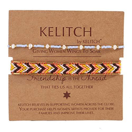 KELITCH 2 Stück Bunte Stränge Armbänder Böhmischen Freundschaft Shell Perle Perlen Armbänder Mode Schmuck (Blau Orange D)