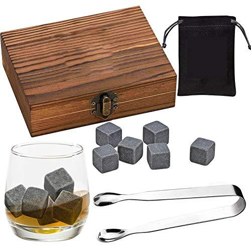 Whisky Steine Set, Whisky Steine Granit, Wiederverwendbare Eiswürfel Steine, Whisky Steine Geschenkset Geschmacklos für Bar Wodka, Gin & Mehr Rum