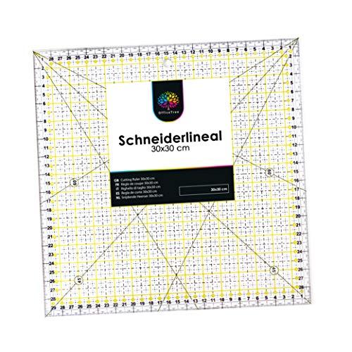 OfficeTree Regla Universal - Regla de Patchwork 30 x 30 cm arcillo - Regla Lineal de Patchwork para Cortes con Medidas exactas