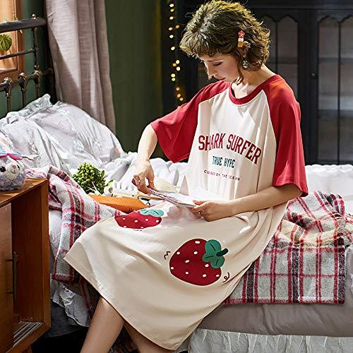 Ensemble Pyjama Femmes,Coton D'Été Home Sweet Cute Cartoon Alphabet Imprimer Strawberry Pocket Casual Chemise Grande Taille Confortable Lâche Accueil Vêtements Peuvent Être Portés À L'Exté
