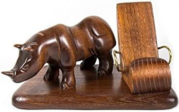 Wood carved iPhone 5 4S 4 3GS *Rhino* table stand for mobile phone