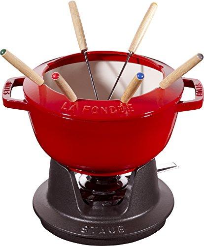 STAUB Juego de fondue con 6 tenedores, para fondue de queso, chocolate y carne, Hierro fundido, Rojo cereza, 20 cm