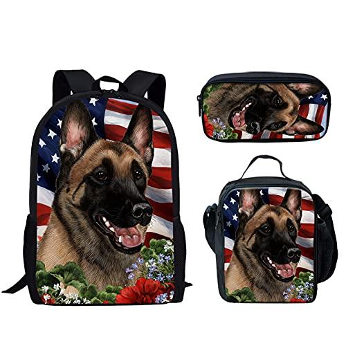 Howilath Ligero 17 pulgadas bolsa escolar conjunto divertido animal diseño mochila con aislamiento térmico caja lápiz, Perro pastor alemán, 17 inch (3PCS Set), Juego de bolsos escolares