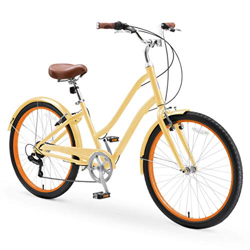 """sixthreezero EVRYjourney Casual Edition Women's 7-Speed Step-Through Touring Hybrid Bike, 26"""" Bicycle, Cream with Brown Seat and Brown Grips"""