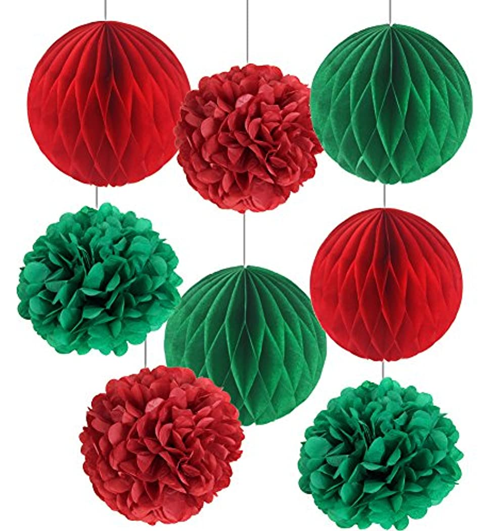 SUNBEAUTY Pack of 8 Christmas Decoration Red Green Honeycomb Balls Tissue Paper Pom Poms Xmas Accessory Party Decoration (Red Green)