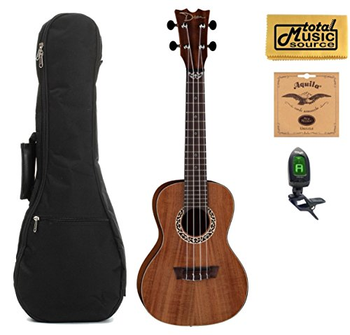 Dean Concert Ukulele, Koa Wood, Satin Natural, W/Padded Gigbag,Tuner,Strings & PC,UKEDKOA COMP