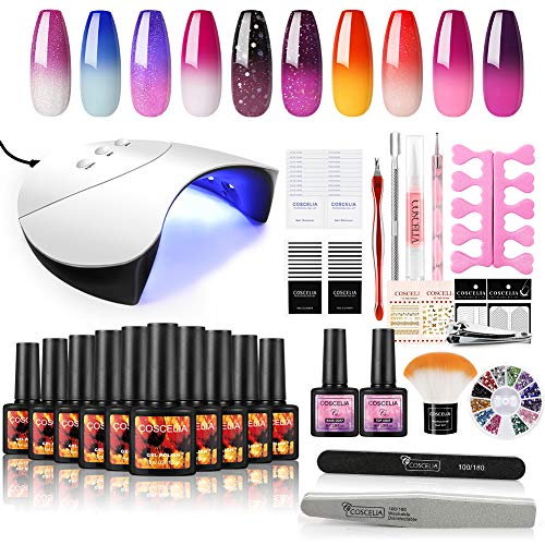 UV Gelnägel Set 10pc Thermo uv Gel Lacken Set 36W UV+LED Nagellampe Starterset Farbwechsel UV Nagellack Set für Nageldesign