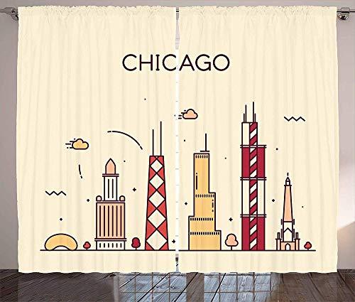 zpangg Chicago Skyline Curtains Hand Drawn Style amerikanische Stadt mit historischen und berühmten Gebäuden drucken Wohnzimmer Schlafzimmer Fenster