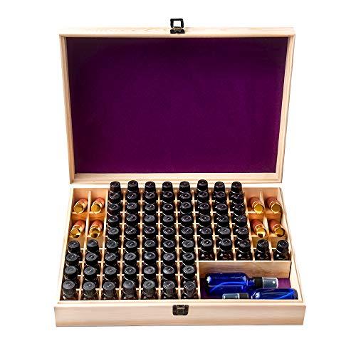 Unique Essential Oil Storage Box Organizer Large 100 Bottle - Holds 5-15ml & 10ml Roller Bottles (Removable Space For 2oz - 4oz Bottles) Free Bottle Opener & 192 EO Labels Protective Foam Base