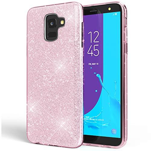 NALIA Custodia compatibile con Samsung Galaxy J6, Clear Glitter Copertura in Silicone Protezione Sottile Telefono Cellulare, Slim Gel Cover Case Protettiva Scintillio Bumper, Colore:Pink