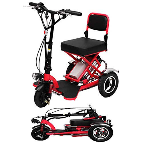 J&Z Mini Eléctrico Triciclo Plegable Scooter Eléctrico De Litio Portable Adulto para...