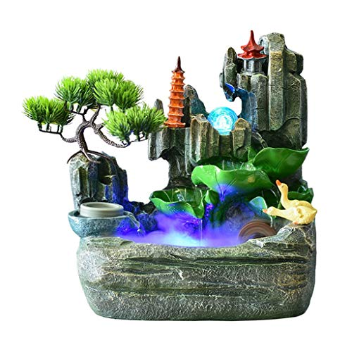 SANYAXIAODONG8 Tabletop Fountain Resin Rockery Waterfall Fountain with Fish Tank Wind Water Wheel and Spinning Ball Office Interior Lucky Desktop Decoration Crafts Tabletop fountain indoor (Size : L)