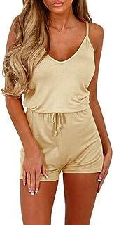 9ec07095f619 NREALY Jumpsuit Womens Sleeveless Waist Drawstring Short Playsuit Rompers  Jumpsuit