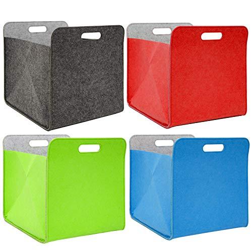 DuneDesign Set van 4 viltenvilten Opbergbak - 33x33x38 cm Kallax Bak Box Doos opvouwbaar Kleurrijk
