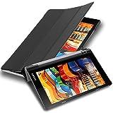 Cadorabo Funda Tableta para Lenovo Yoga Tab 3 10 (10.1' Zoll) x50 in Negro SATÉN – Cubierta Proteccíon Bien Fina en Cuero Artificial en Estilo Libro con Auto Wake Up e Función de Suporte