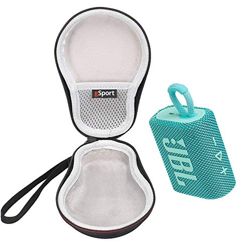 JBL GO 3 Waterproof Ultra Portable Bluetooth Speaker Bundle with gSport Deluxe Hardshell Case (Teal)