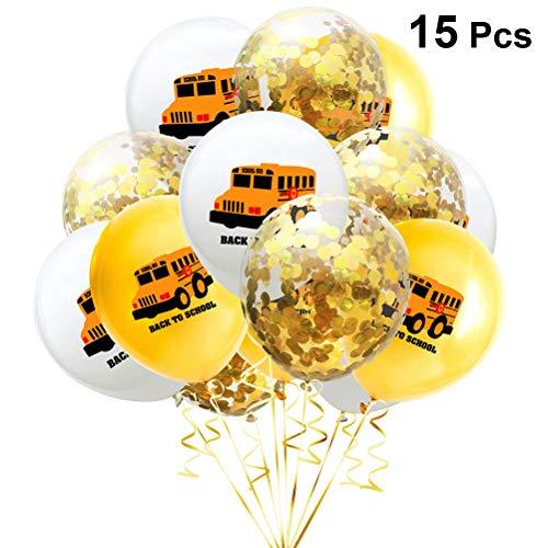 Amosfun 15 stks Terug naar School Ballonnen Set School Bus Latex Ballonnen Gouden Confetti Ballon Gelukkige Eerste Dag van School Teken voor Welkom School Feestartikelen 12 Inch