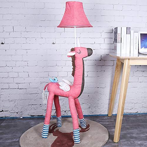 sandy Lámpara Pie LED, Lampara Salon Decorativa con Forma Animal Creativa, Lámpara Tela Independiente Moderna para la Habitación de Un Niño o Una Niña,Rosado