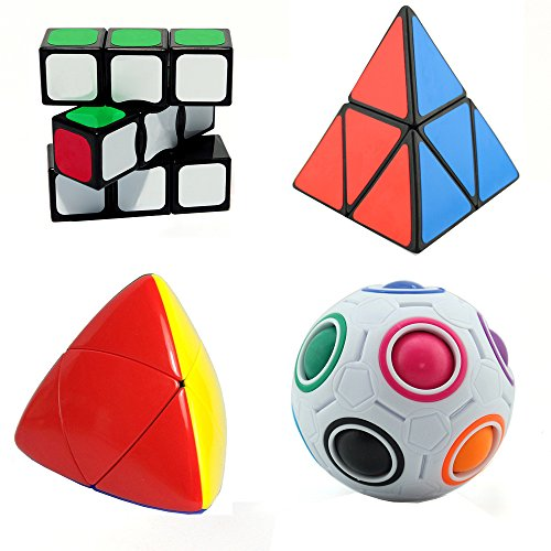 MZStech Juego de Cubo mágico de 4 Paquetes Incluye 2x2x2 Pyraminx Cube + 1x3x3 Magic Cube + Cubo Rainbow Cube + Mastermorphix Cube