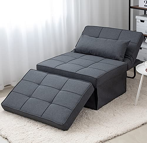 Folding Ottoman Sofa Bed, Convertible Chair 4 in 1 Multi-Function Modern Breathable Linen Guest Bed with 5 Position Adjustable Backrest (Dark Grey)