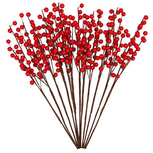 BELLE VOUS Rote Beeren Weihnachtdsdeko (12er Pack) - 40 cm Künstliche Zweige mit Roten Beeren Biegbar Weihnachtsbeeren für Weihnachtskranz & Girlandendeko Hochzeit Basteln Weihnachtsdekoration