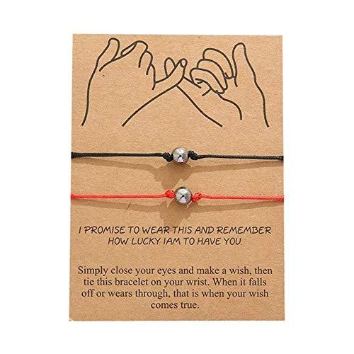 Qingsb 2 stks/set koppels afstand armband klassieke natuursteen wit en zwart yin yang kralen armbanden voor mannen vrouwen beste vriend