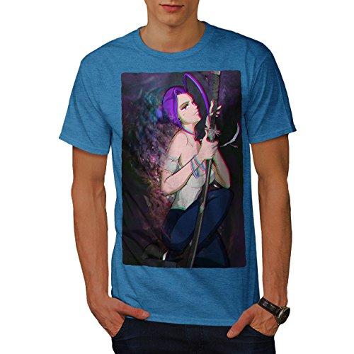 Wellcoda Anime Samouraï Sa Fantaisie Homme T-Shirt Épée T-Shirt imprimé avec Design Graphique
