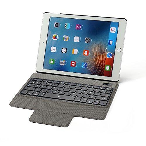 Rii Funda con teclado Bluetooth para Apple iPad Pro 9.7' (Version 2016 y anteriores) - (QWERTY layout español), color negro